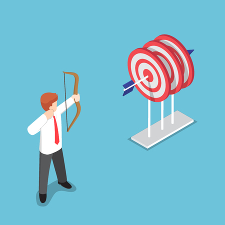 Flat 3d isometric businessman shooting a target