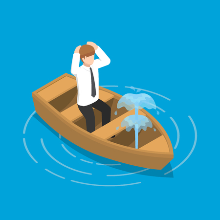 Flat 3d isometric businessman sitting in leaking boat, Business crisis concept. Иллюстрация