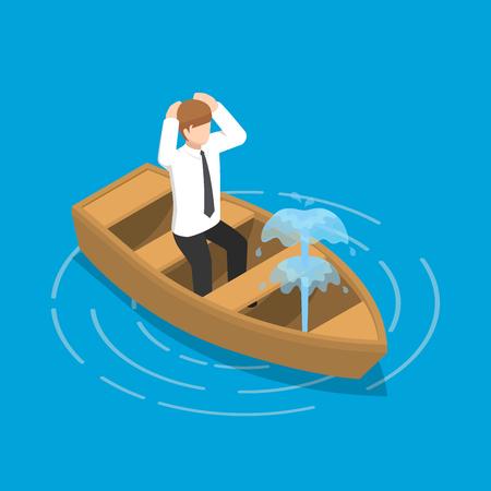 Platte 3d isometrische zakenman zitten in lekkende boot, crisis bedrijfsconcept.