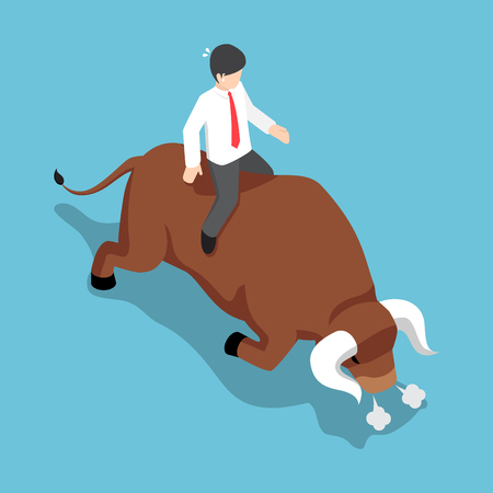 Flat 3d isometric businessman sitting on angry bull back. Bullish stock market and financial concept. Illustration