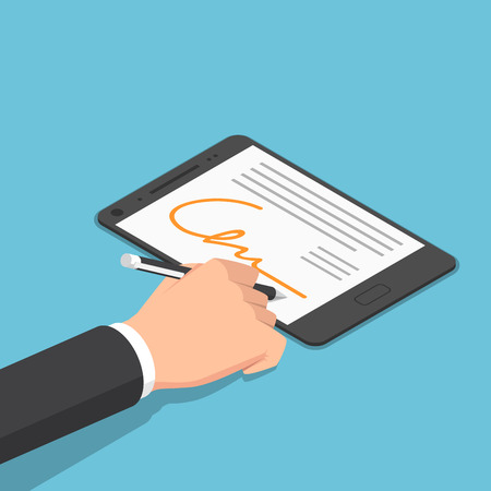 Flat 3d isometric businessman hand signing digital signature on tablet. Digital signature and e-Business concept.
