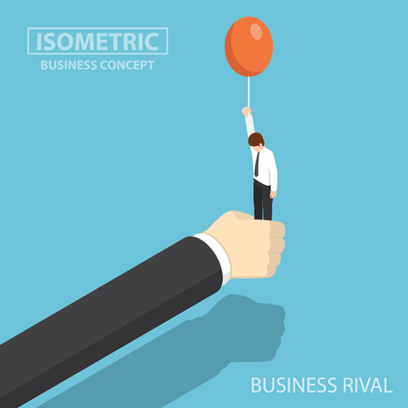 Flat 3d isometric businessman hand stop his business rival before he float by balloon. business rival and competition concept. Stock fotó - 93230930