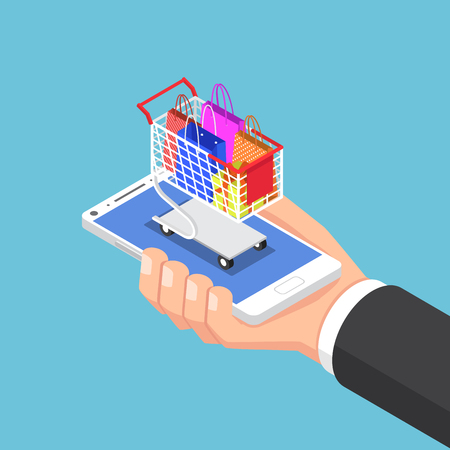 Flat 3d isometric businessman hand with shopping bag and cart on smartphone. Online shopping concept. Stock Illustratie