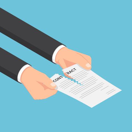平らな 3 d アイソ メトリックのビジネスマン手契約または契約文書を引き裂きます。ビジネス契約の概念。