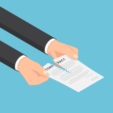Flat 3d isometric businessman hands tearing up a contract or agreement document. Business contract concept. Illustration