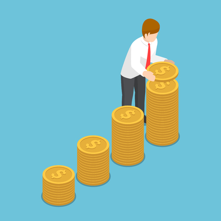 Flat 3d isometric businessman put coin to growth stack of coins. Saving money and investment concept. Reklamní fotografie - 93230974