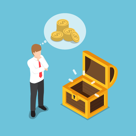 Flat 3d isometric businessman standing in front of empty treasure box. Business financial concept.
