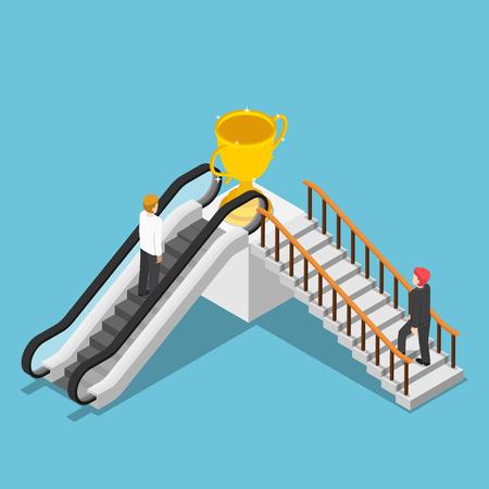De vlakke 3d isometrische verschillende manier van het zakenmangebruik aan succes door roltrap en trede. Bedrijfsoplossing en snelkoppeling naar succesconcept.