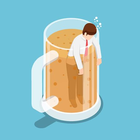 Flat 3d isometric drunk businessman in beer mug. Party and relax concept. Illustration