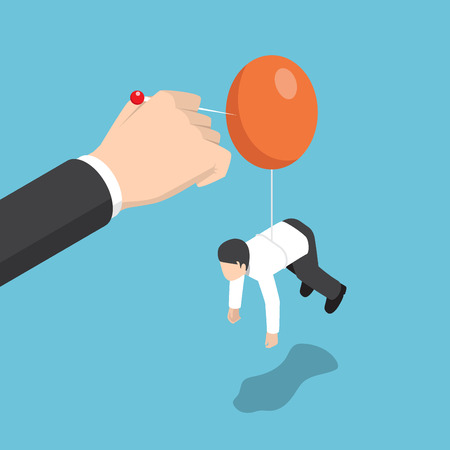 Businessman hand pushing needle to destroy balloon of rival. Eliminate business rivalry and competition concept.