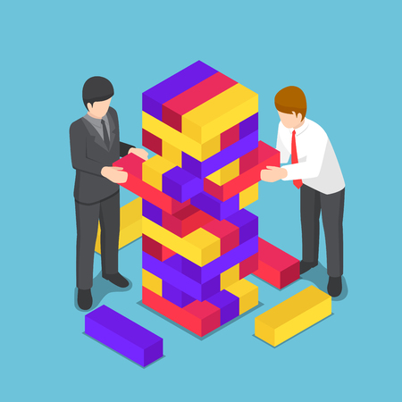 Flat 3d isometric business people playing wood tower toy. Business competition and strategy concept. Illustration