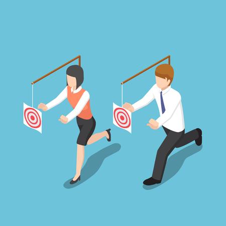 Flache isometrische Geschäftsleute 3d versuchen, Ziel zu fangen. Geschäftsmotivation und Zielkonzept.