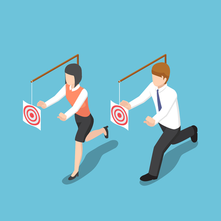 Flat 3d isometric business people try to catch target. Business motivation and target concept. Illustration