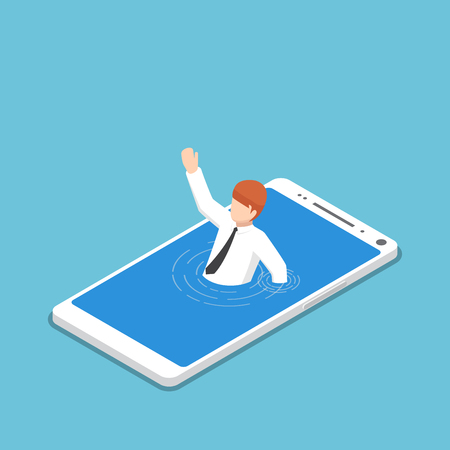 Flat 3d isometric businessman drowning in smartphone. Smartphone or mobile addiction concept. Illustration