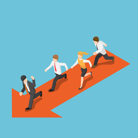 Flat 3d isometric businessmen running and following leader.