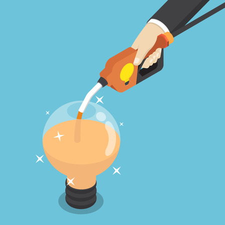 Flat 3d isometric businessman filling light bulb of idea by fuel nozzle.