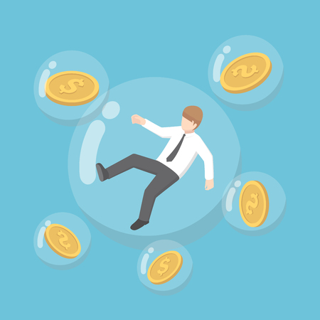 Businessman and dollar coins floating in bubbles