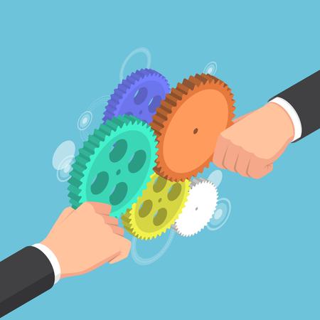 Businessman hands connecting gears together Ilustração