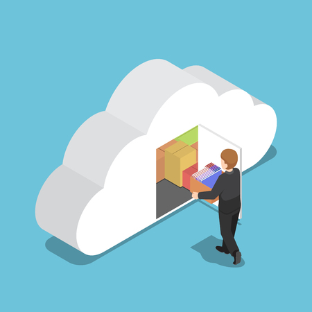 Flat 3d isometric businessman keep file in cloud shaped room. Cloud computing concept.