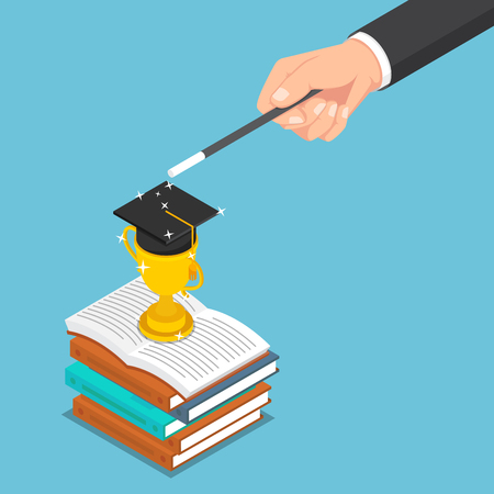 Flat 3d isometric businessman use magic to create trophy and graduate cap on the books. Business success and education concept. Illustration