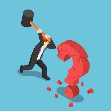 Flat 3d isometric businessman destroy question mark sign. Business solution concept. Stock Illustratie