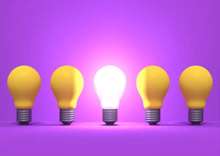 Illuminated incandescent light bulb among the group of yellow bulbs on purple background. Idea concept. 3D render.