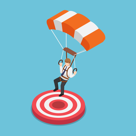 Flat 3d isometric businessman with parachute landing on the target. Business success concept.