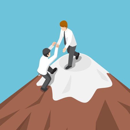 Flat 3d isometric businessman help each other climb to the top of mountain. Business teamwork concept. Illustration
