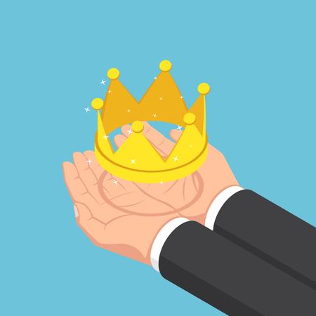 Flat 3d isometric businessman hands holding golden crown. Business success and leadership concept. Çizim