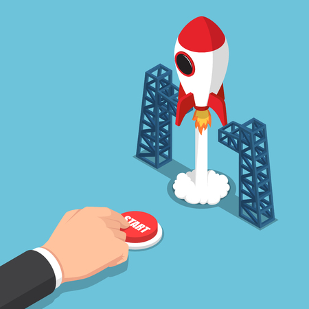 Flat 3d isometric businessman hand presses start button to launches a space rocket. Business start up concept.