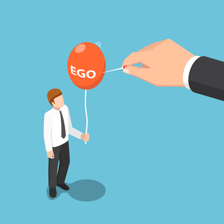 Flat 3d isometric big hand use needle to destroy ego balloon of businessman. Ego concept.