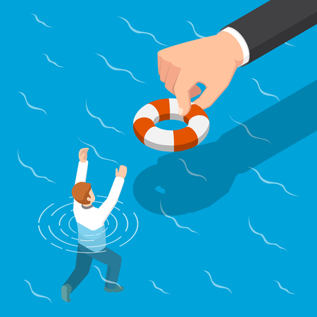 Flat 3d isometric big hand giving a lifebuoy to help businessman. Helping business to survive concept. Illustration
