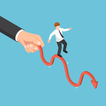 Flat 3d isometric big businessman hand shaking business graph. Business power and competition concept.