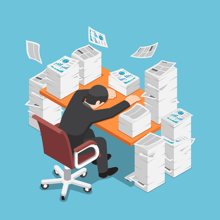 Flat 3d isometric tired businessman asleep at office desk with the pile of paper document. Work hard concept.