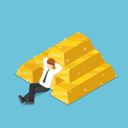 Empresario isométrico 3d plano descansando con la pila de lingotes de oro. El éxito empresarial y el concepto de mercado del oro. Ilustración de vector