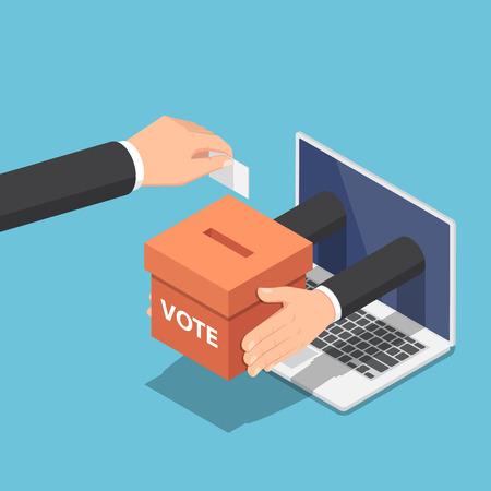 Płaskie 3d izometryczny biznesmen ręcznie wkłada papier do głosowania do urny, która wychodzi z monitora laptopa. Koncepcja głosowania i wyborów online.
