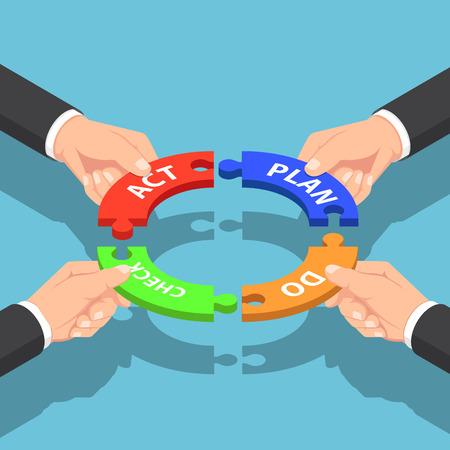 Les mains d'homme d'affaires isométrique plat 3d tenant le plan vérifient le puzzle d'acte. Concept de gestion d'entreprise PDCA.