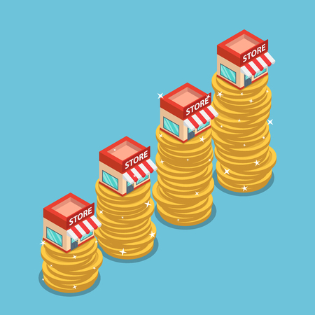 Flat 3d isometric shopping store on the top of growing coin stack. Franchise business marketing concept. 版權商用圖片 - 115212203
