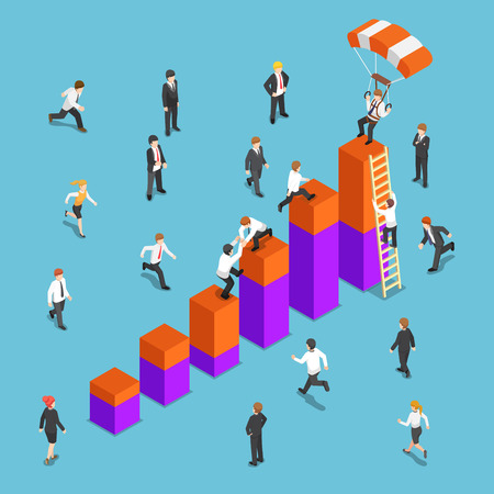 Flat 3d isometric business people competing to reach the top of the graph. Business competition concept.