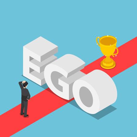 Flache isometrische 3D-Geschäftsleute wurden durch die Ego-Wand behindert, um einen Weg zum Erfolg zu finden. Ego-Konzept.