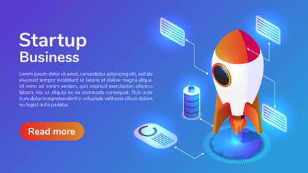 Infographics 3d isometric web banner launches a space rocket. Startup business concept. 向量圖像