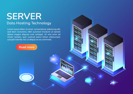 3d isometric web banner Server room and hosting storage technology. Web hosting server and data center landing page concept. 向量圖像