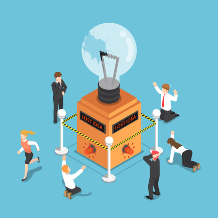 Flat 3d isometric business people shocked when light bulb of idea is damaged and security alarm ringing. Lost business idea concept.