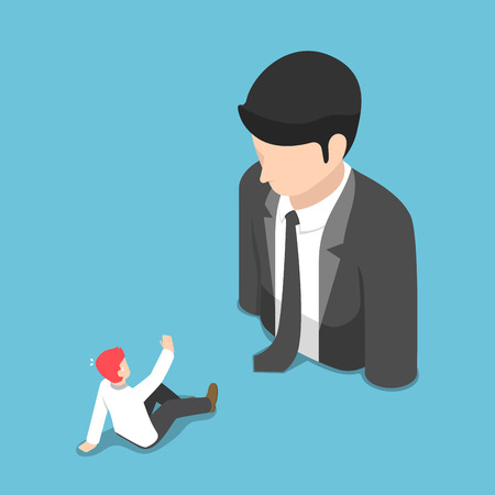 Flat 3d isometric businessman shocked when he is in front of the big business people. Business leadership concept.