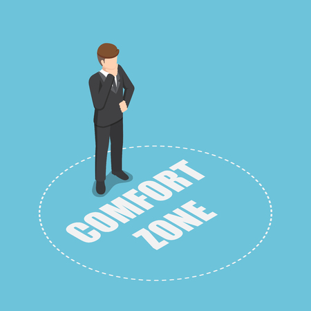 Flat 3d isometric businessman standing in comfort zone. Personal development and motivation concept. Stockfoto - 112062384