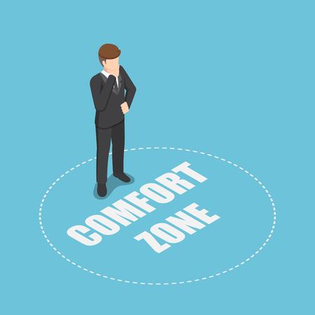 Hombre de negocios isométrico 3d plano de pie en la zona de confort. Concepto de motivación y desarrollo personal. Ilustración de vector