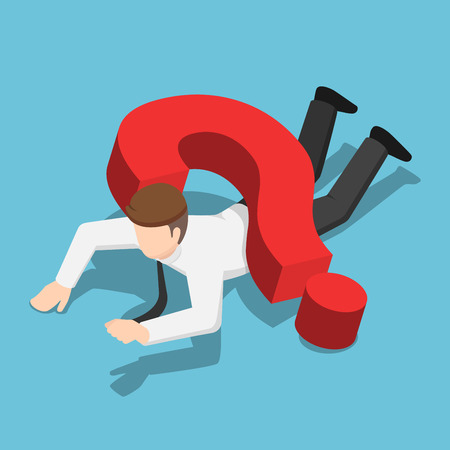 Flat 3d isometric businessman crushed by question mark sign. Business problem concept. 版權商用圖片 - 112062385