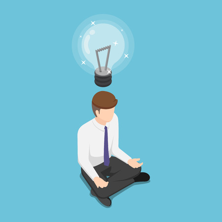 Flat 3d isometric businessman doing meditation in half lotus posture and get new idea. Business idea concept. 向量圖像