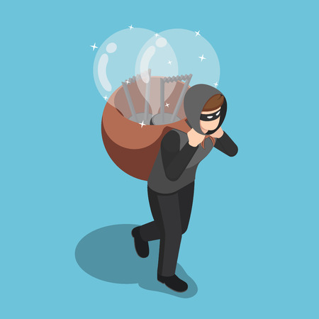 Flat 3d isometric thief stolen light bulb of idea and carrying on his back. Steal idea concept.