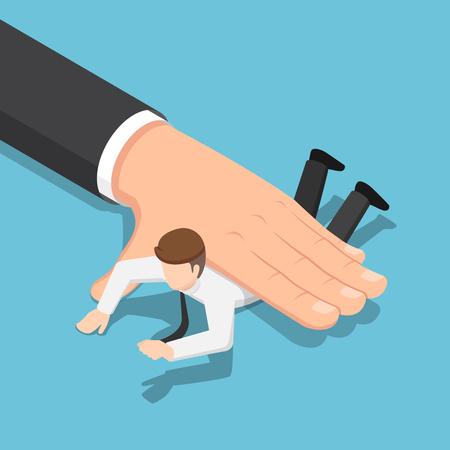 Flache isometrische 3D-große Hand, die den Geschäftsmann auf den Boden drückt. Geschäftskraft und Unterdruckkonzept.